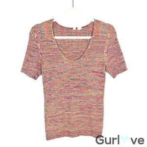 Anthro Moth L Multicolor Knit Stretch Top